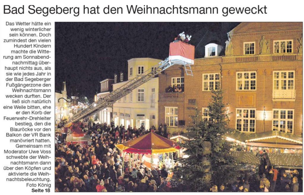 Titelseite der Segeberger Zeitung vom 2. Dez. 2013 mit großem Bericht  im Innenteil.